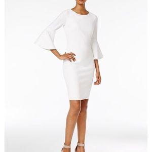 NWT Calvin Klein White Dress w/ Bell Sleeves